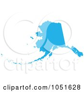 Royalty Free Vector Clip Art Illustration Of A Blue Silhouetted Shape Of The State Of Alaska United States
