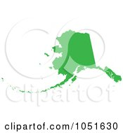 Royalty Free Vector Clip Art Illustration Of A Green Silhouetted Shape Of The State Of Alaska United States
