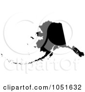 Royalty Free Vector Clip Art Illustration Of A Black Silhouetted Shape Of The State Of Alaska United States by Jamers #COLLC1051632-0013