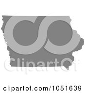 Gray Silhouetted Shape Of The State Of Iowa United States by Jamers