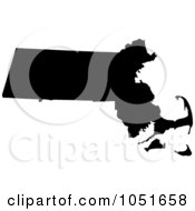 Royalty Free Vector Clip Art Illustration Of A Black Silhouetted Shape Of The State Of Massachusetts United States