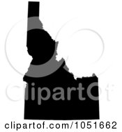 Royalty Free Vector Clip Art Illustration Of A Black Silhouetted Shape Of The State Of Idaho United States by Jamers