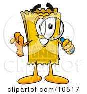 Yellow Admission Ticket Mascot Cartoon Character Looking Through A Magnifying Glass