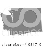 Royalty Free Vector Clip Art Illustration Of A Gray Silhouetted Shape Of The State Of Washington United States by Jamers #COLLC1051710-0013
