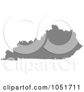 Royalty Free Vector Clip Art Illustration Of A Gray Silhouetted Shape Of The State Of Kentucky United States