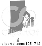 Gray Silhouetted Shape Of The State Of Rhode Island United States