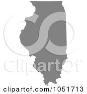 Gray Silhouetted Shape Of The State Of Illinois United States