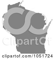 Gray Silhouetted Shape Of The State Of Wisconsin United States