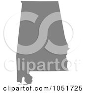 Royalty Free Vector Clip Art Illustration Of A Gray Silhouetted Shape Of The State Of Alabama United States