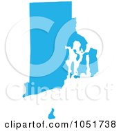 Royalty Free Vector Clip Art Illustration Of A Blue Silhouetted Shape Of The State Of Rhode Island United States