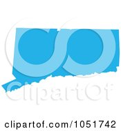 Royalty Free Vector Clip Art Illustration Of A Blue Silhouetted Shape Of The State Of Connecticut United States