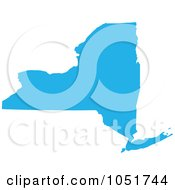 Royalty Free Vector Clip Art Illustration Of A Blue Silhouetted Shape Of The State Of New York United States