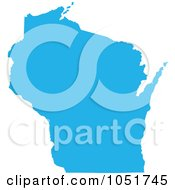 Blue Silhouetted Shape Of The State Of Wisconsin United States by Jamers