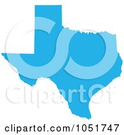 Royalty Free Vector Clip Art Illustration Of A Blue Silhouetted Shape Of The State Of Texas United States by Jamers