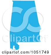 Royalty Free Vector Clip Art Illustration Of A Blue Silhouetted Shape Of The State Of Alabama United States