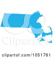 Royalty Free Vector Clip Art Illustration Of A Blue Silhouetted Shape Of The State Of Massachusetts United States by Jamers #COLLC1051761-0013