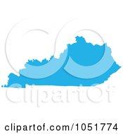 Royalty Free Vector Clip Art Illustration Of A Blue Silhouetted Shape Of The State Of Kentucky United States