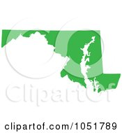 Royalty Free Vector Clip Art Illustration Of A Green Silhouetted Shape Of The State Of Maryland United States by Jamers
