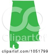 Royalty Free Vector Clip Art Illustration Of A Green Silhouetted Shape Of The State Of Alabama United States
