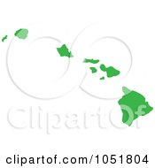 Royalty Free Vector Clip Art Illustration Of A Green Silhouetted Shape Of The State Of Hawaii United States by Jamers