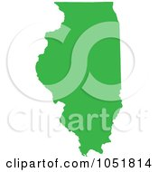 Royalty Free Vector Clip Art Illustration Of A Green Silhouetted Shape Of The State Of Illinois United States