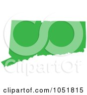 Royalty Free Vector Clip Art Illustration Of A Green Silhouetted Shape Of The State Of Connecticut United States