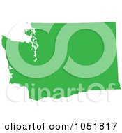 Royalty Free Vector Clip Art Illustration Of A Green Silhouetted Shape Of The State Of Washington United States