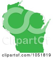 Royalty Free Vector Clip Art Illustration Of A Green Silhouetted Shape Of The State Of Wisconsin United States