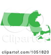 Royalty Free Vector Clip Art Illustration Of A Green Silhouetted Shape Of The State Of Massachusetts United States