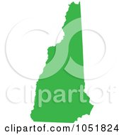 Royalty Free Vector Clip Art Illustration Of A Green Silhouetted Shape Of The State Of New Hampshire United States