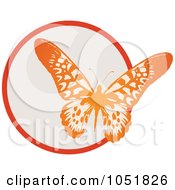 Royalty Free Vector Clip Art Illustration Of A Red Butterfly And Circle Logo by Eugene