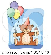 First Birthday Teddy Bear With A Bottle And Party Balloons by Any Vector