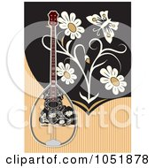Royalty Free Vector Clip Art Illustration Of A Bouzouki On A Tan And Black Background With Flowers And A Butterfly