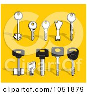 Royalty Free Vector Clip Art Illustration Of A Digital Collage Of Various Types Of Keys by Any Vector