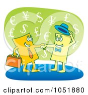 Royalty Free Vector Clip Art Illustration Of Two Business Cards Shaking Hands by Any Vector