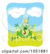 Royalty Free Vector Clip Art Illustration Of A Silly Frog Prince In Grass