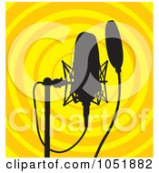 Royalty Free Vector Clip Art Illustration Of A Silhouetted Microphone And Stand