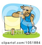 Royalty Free Vector Clip Art Illustration Of A Cow Wearing Shades And Leaning On A Blank Sign With A Pail Of Milk