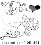 Royalty Free Vector Clip Art Illustration Of A Digital Collage Of Black And White Grape Vine And Heart Designs With Shadows