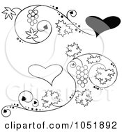 Royalty Free Vector Clip Art Illustration Of A Digital Collage Of Black And White Grape Vine And Heart Designs