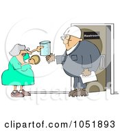 Royalty Free Vector Clip Art Illustration Of A Woman Instructing A Man On A Drug Test
