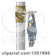 Royalty Free Vector Clip Art Illustration Of A Worker Adjusting A Pipe With A Small Wrench by djart