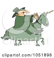 Royalty Free Vector Clip Art Illustration Of A Leprechaun Riding A Green Unicorn by djart