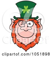 Royalty Free Vector Clip Art Illustration Of A St Paddys Day Leprechaun Winking And Smiling