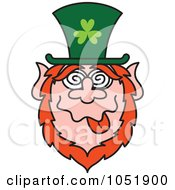 Royalty Free Vector Clip Art Illustration Of A St Paddys Day Leprechaun Making A Funny Face by Zooco