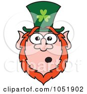 Royalty Free Vector Clip Art Illustration Of A Surprised St Paddys Day Leprechaun