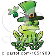 Royalty Free Vector Clip Art Illustration Of A St Patricks Day Frog Wearing A Green Hat With A Shamrock