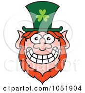 Royalty Free Vector Clip Art Illustration Of A St Paddys Day Leprechaun With A Big Smile