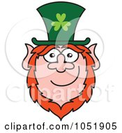 Royalty Free Vector Clip Art Illustration Of A St Paddys Day Leprechaun Smiling by Zooco