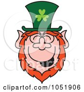 Royalty Free Vector Clip Art Illustration Of A St Paddys Day Leprechaun Laughing